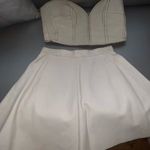 Two piece off white real leather bustier and skirt